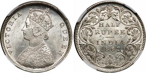 1/2 Рупія Британська Індія (1858-1947) Срібло Вікторія (1819 - 1901)
