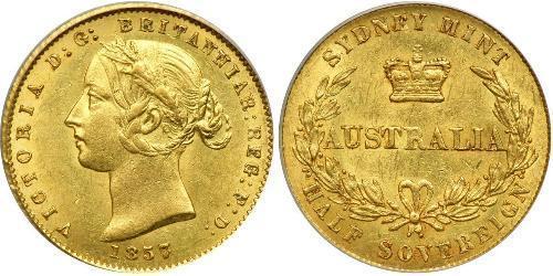 1/2 Соверен Австралия (1788 - 1939) Золото Виктория (1819 - 1901)