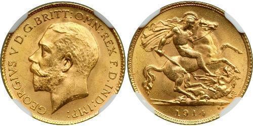 1/2 Соверен Соединённое королевство Великобритании и Ирландии (1801-1922) Золото Георг V (1865-1936)