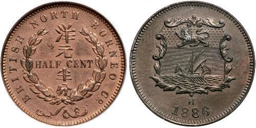 1/2 Цент Северное Борнео (1882-1963) Бронза