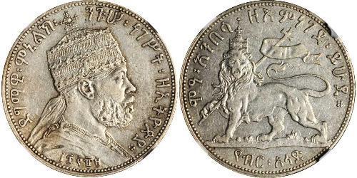1/2 Birr Äthiopien Silber Menelik II of Ethiopia ( 1844 -1913)