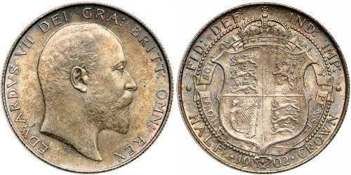 1/2 Corona Regno Unito di Gran Bretagna e Irlanda (1801-1922) Argento Edoardo VII (1841-1910)