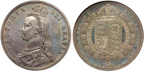 1/2 Corona Regno Unito di Gran Bretagna e Irlanda (1801-1922) Argento Vittoria (1819 - 1901)