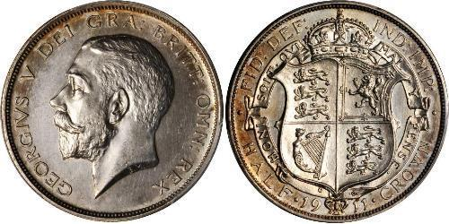 1/2 Crown 大不列颠及爱尔兰联合王国 (1801 - 1922) 銀 乔治五世  (1865-1936)
