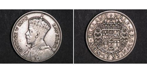 1/2 Crown Nueva Zelanda Plata Jorge V (1865-1936)