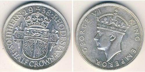 1/2 Crown Southern Rhodesia (1923-1980) Plata Jorge VI (1895-1952)
