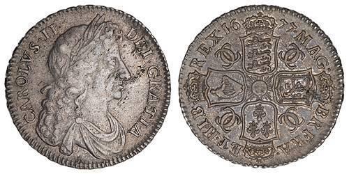 1/2 Crown Königreich England (927-1649,1660-1707) Silber Karl II (1630-1685)