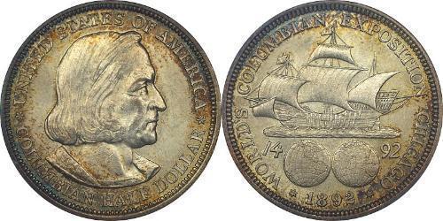 1/2 Dólar Estados Unidos de América (1776 - ) Plata Cristóbal Colón (1451 - 1506)