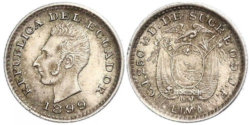 1/2 Decimo Ecuador Silber