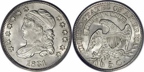 1/2 Dime / 5 Cent 美利堅合眾國 (1776 - ) 銀/銅