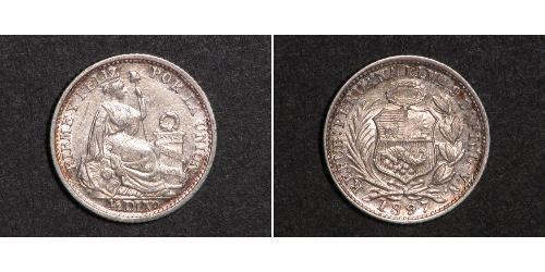 1/2 Dinero Перу Серебро