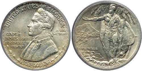 1/2 Dollar 美利堅合眾國 (1776 - ) 銀 James Cook