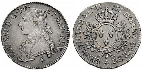 1/2 Ecu Francia medioevale (843-1791) Argento Luigi XVI di Francia (1754 - 1793)