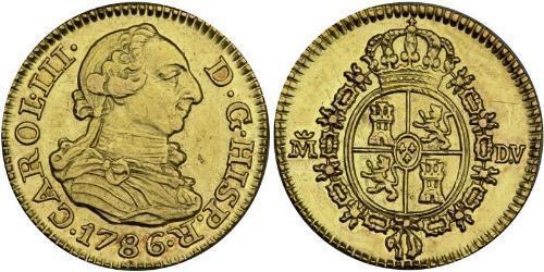 1/2 Escudo 西班牙帝國 金 卡洛斯三世 (西班牙) (1716 -1788)