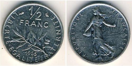 1/2 Franc Quinta Repubblica francese (1958 - ) Nichel