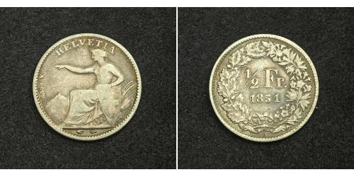 1/2 Franc Suiza Plata