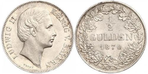 1/2 Gulden Reino de Baviera (1806 - 1918) Plata Luis II de Baviera(1845 – 1886)