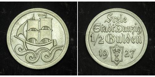 1/2 Gulden Gdansk (1920-1939) Silber