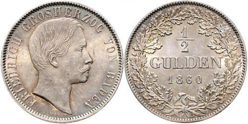 1/2 Gulden Grand Duchy of Baden (1806-1918) Silver Frederick I, Grand Duke of Baden (1826 - 1907)