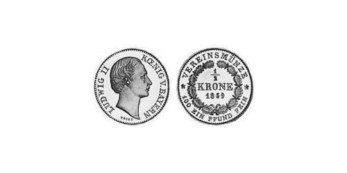1/2 Krone Kingdom of Bavaria (1806 - 1918) Gold Ludwig II of Bavaria (1845 – 1886)