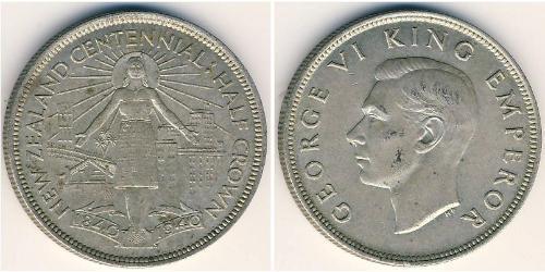 1/2 Krone Neuseeland Silber