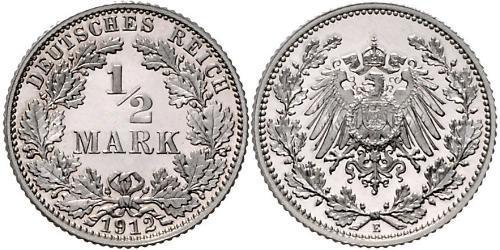 1/2 Mark Empire allemand (1871-1918) Argent