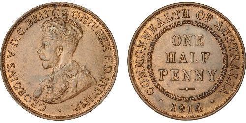 1/2 Penny 澳大利亚 青铜 乔治五世  (1865-1936)