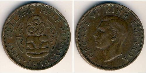1/2 Penny Nueva Zelanda Bronce
