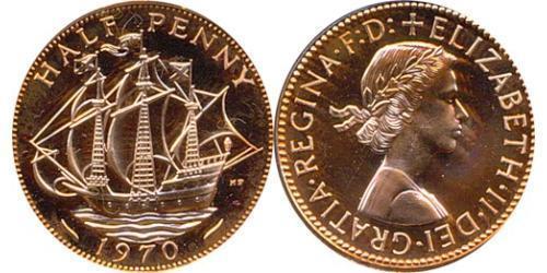 1/2 Penny Feriind Kiningrik (1922-) Bronze Elizabeth II (1926-)