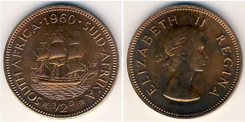 1/2 Penny Sudafrica Bronzo Elisabetta II (1926-)