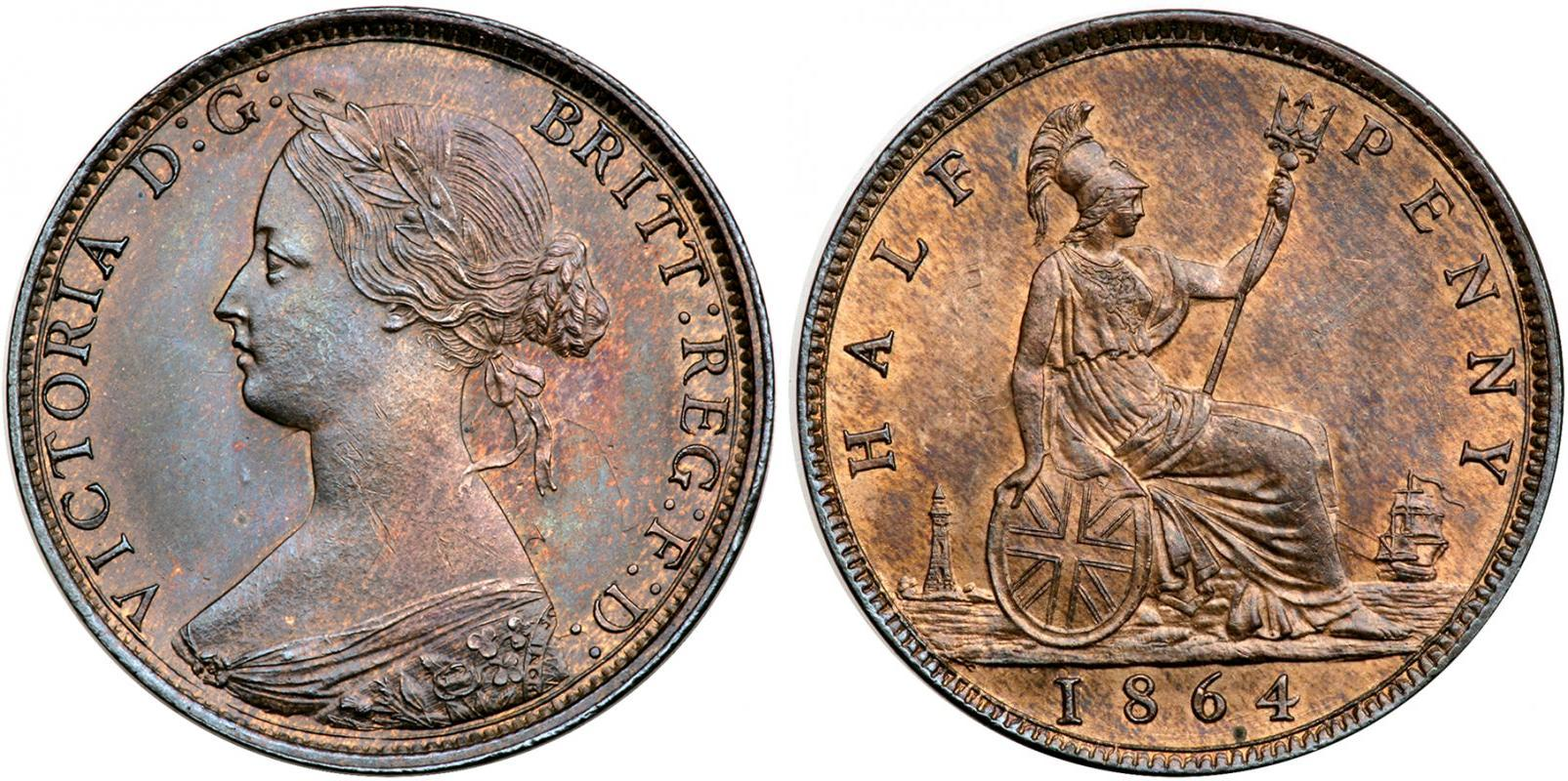 Coin 1 2 penny united kingdom copper 1861 victoria 1819 for One penny homes