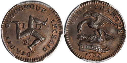 1/2 Penny Isle of Man Kupfer
