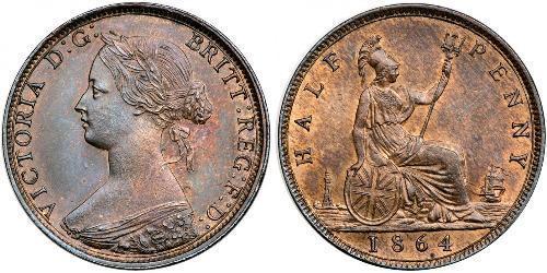 1/2 Penny Regno Unito  Rame Vittoria (1819 - 1901)