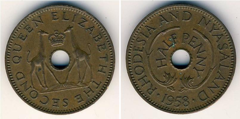 Moneda 1 2 penny 1958 km 1 for One penny homes