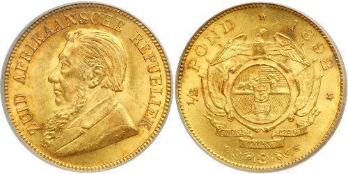 1/2 Pond Южно-Африканская Республика Золото Крюгер, Пауль (1825 - 1904)