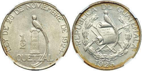 1/2 Quetzal Republic of Guatemala (1838 - ) Silver