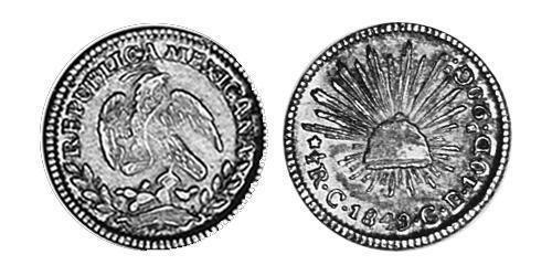 1/2 Real Second Federal Republic of Mexico (1846 - 1863) Silver