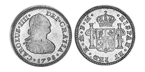 1/2 Real Spanish Mexico  / Kingdom of New Spain (1519 - 1821) Silver Charles IV of Spain (1748-1819)