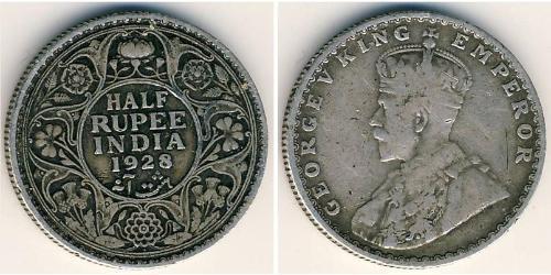 1/2 Rupee 英属印度 (1858 - 1947) 銀 乔治五世  (1865-1936)