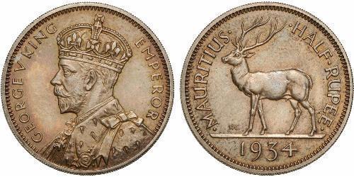 1/2 Rupee Mauritius 銀 乔治五世  (1865-1936)