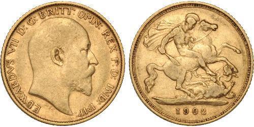 1/2 Sovereign 大不列颠及爱尔兰联合王国 (1801 - 1922) 金 爱德华七世 (1841-1910)