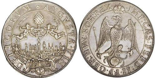 1/2 Thaler Imperial City of Augsburg (1276 - 1803) Silver Ferdinand II, Holy Roman Emperor  (1578 -1637)
