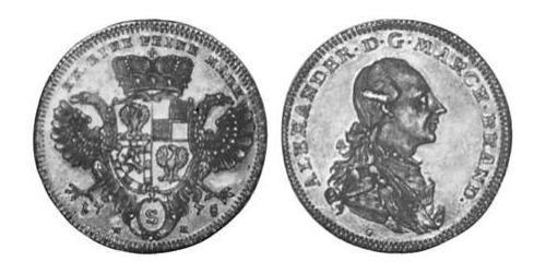 1/2 Thaler Principality of Ansbach (1398–1792) Silver Charles Alexander, Margrave of Brandenburg-Ansbach (1736 – 1806)