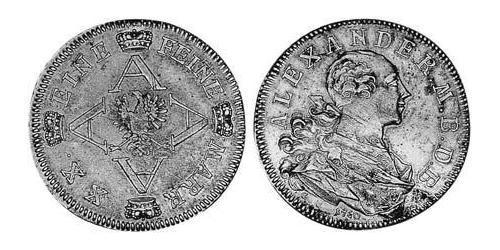 1/2 Thaler Principality of Ansbach (1398–1792) Silver Charles Alexander, Margrave of Brandenburg-Ansbach (1736 – 1806)