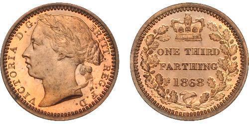1/3 Farthing 大不列颠及爱尔兰联合王国 (1801 - 1922) 青铜 维多利亚 (英国君主)