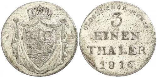 1/3 Thaler Grand Duchy of Oldenburg (1814 - 1918) Silver Peter Friedrich Wilhelm, Duke of Oldenburg