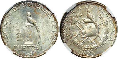 1/4 Кетцаль Республіка Ґватемала (1838 - ) Срібло