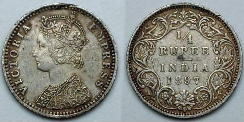 1/4 Рупія Британська Індія (1858-1947) Срібло Вікторія (1819 - 1901)