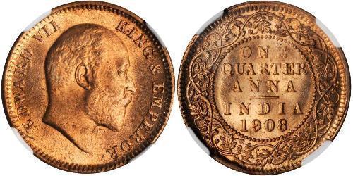 1/4 Anna 英属印度 (1858 - 1947) 青铜 爱德华八世 (1894-1972)