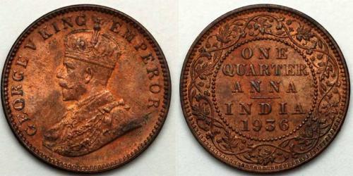 1/4 Anna 英属印度 (1858 - 1947)  乔治五世  (1865-1936)
